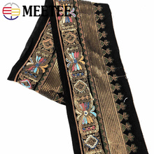 3Meters 13cm Ethnic Gold Thread Sequins Webbing Ribbons Clothing Decorative Embroidered Lace Trims DIY Sewing Accessories