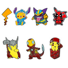 dongsheng jewelry Marvel Avengers Thor Iron Man Deadpool Pikachu Brooches Cute Cartoon Pokemon Enamel Badge Lapel Pins Cosplay(China)