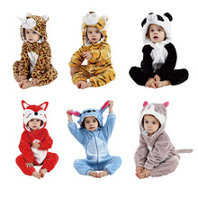 цена на Animal flannel pajamas baby clothes newborn baby hooded jumpsuit baby animal climbing suit winter warm thick one-piece pajamas