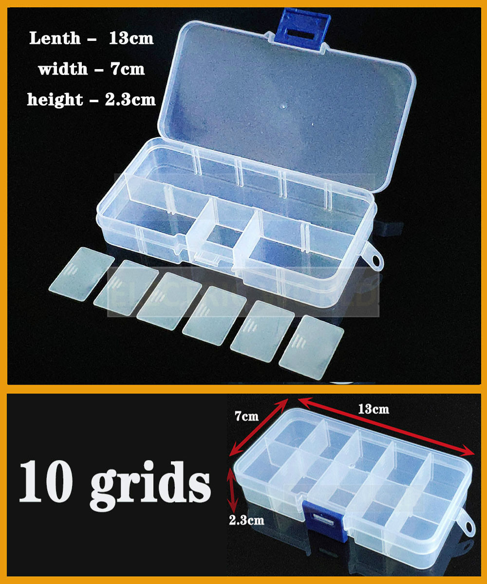 10 Grids Container Plastic Box Organizer Practical Adjustable Compartment Jewelry Earring Screw Holder Case Strage Box