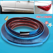 12mm /16ft Car Bumper Strip 5M Protector Sticker Auto Scratch Door Window Protection Bumper Car Chrome Trim Auto Adhesive Strip