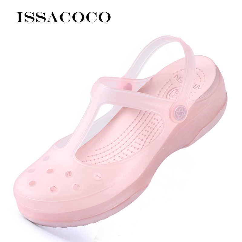 Сандалии женские на платформе, Прозрачные Пляжные босоножки на танкетке, сандалии-желе, санитарная обувь, клоги, лето