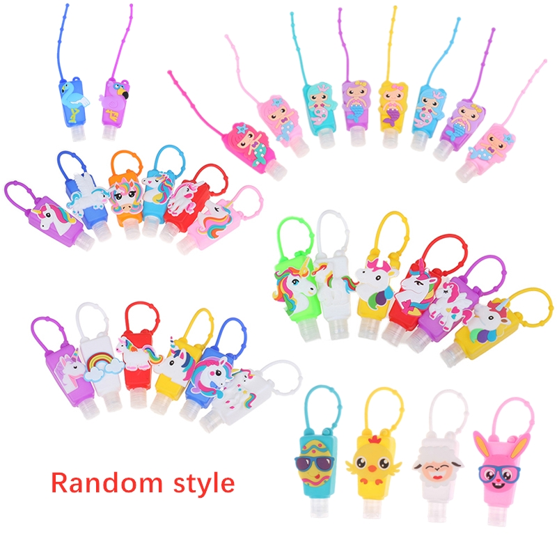 Silicone Cute Cartoon Mermaid/Unicorn/Flamingo Mini Hand Sanitizer Disposable No Clean Detachable Cover Travel Portable Safe Gel