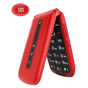 Flip Handy für Senioren mit SOS Große Taste auf Der Rückseite, SIM-Freies Dual SIM Dual Standby Schnell Zifferblatt Schlüssel Einfach-zu-verwenden Handys