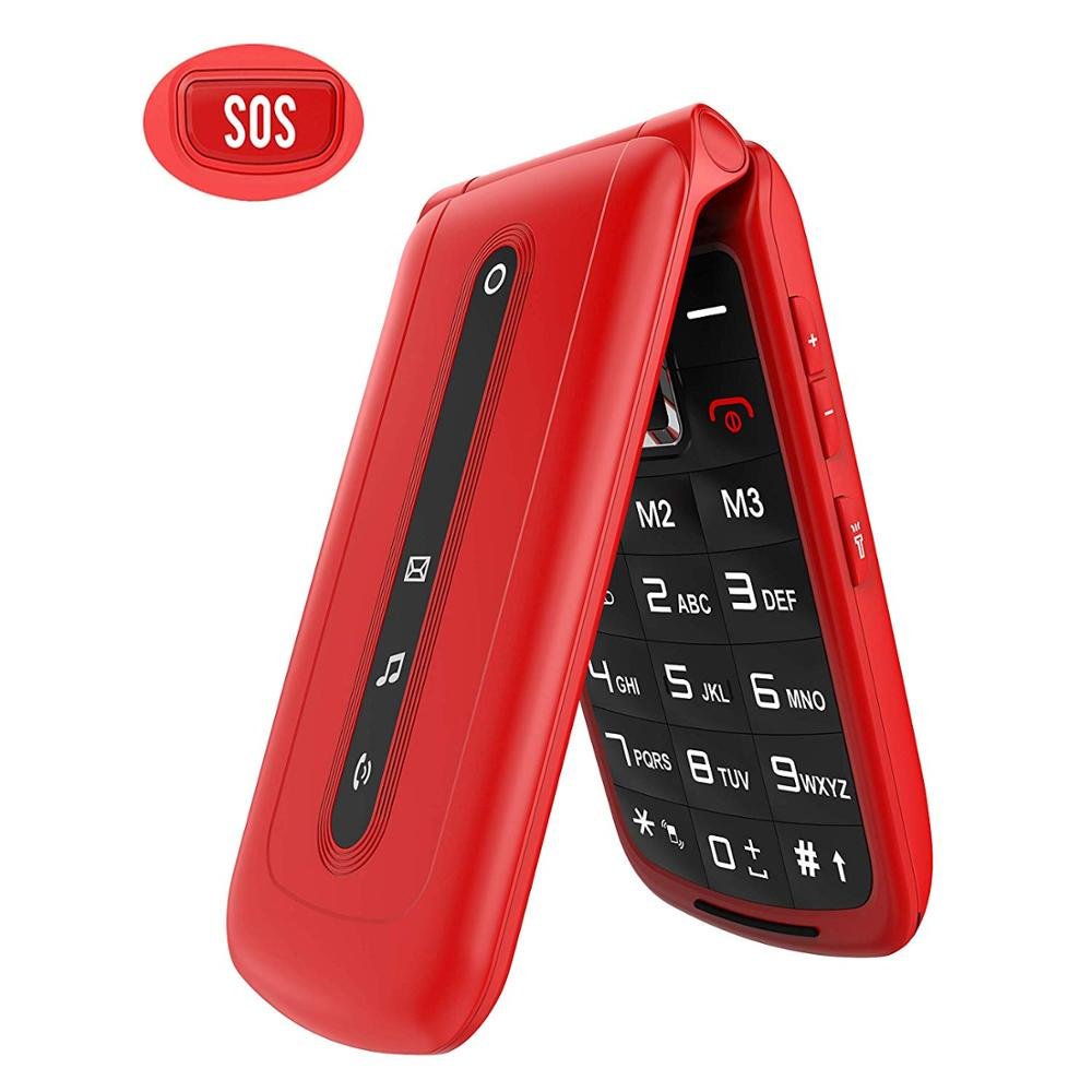 Flip Mobile Phone For Seniors With SOS Big Button On The Back, SIM-Free Dual SIM Dual Standby Quick Dial Key Easy-to-use Phones