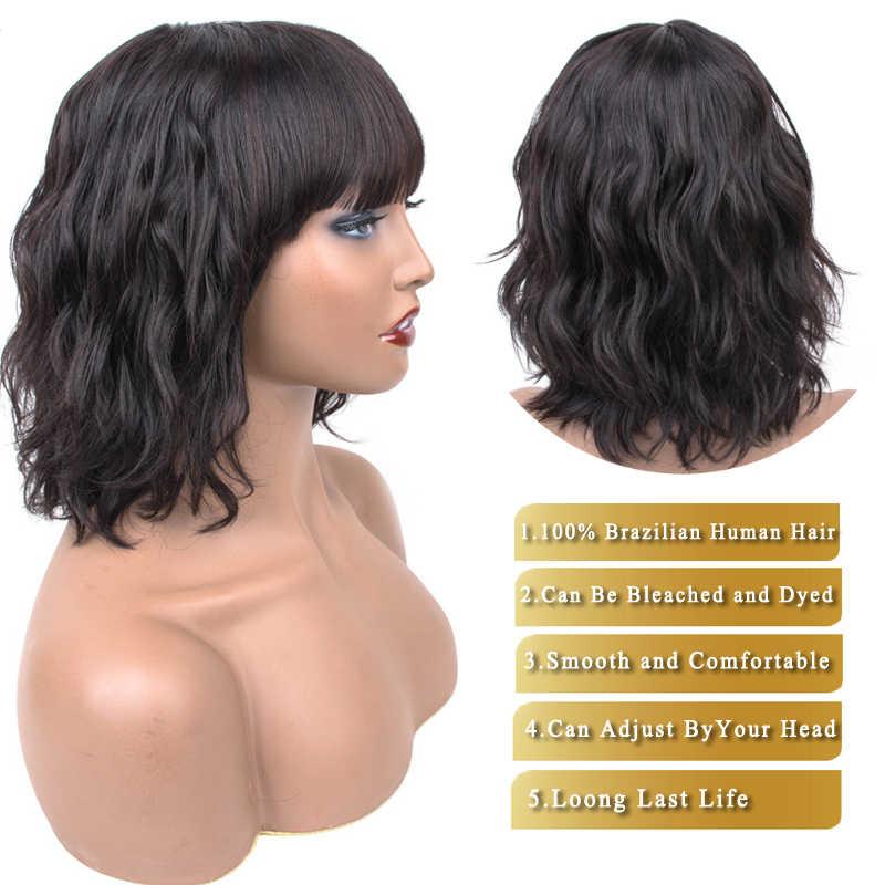 Pelucas de cabello humano cortas pelucas de cabello humano de onda rizada peluca corta de 10 pulgadas con flequillo no Remy Dorisy