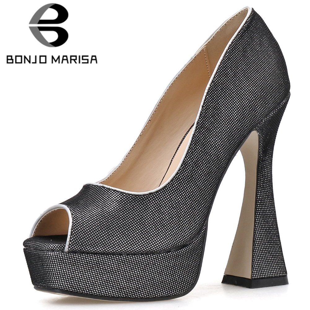 BONJOMARISA New Ladies Spring Fashion Party Extrem High Heels Pumps Elegant Peep Toe Shallow Pumps Women Platform Shoes Woman