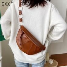 [BXX] Vintage PU Leather Crossbody Bags For Women 2020 Brand Designer Solid Color Shoulder Messenger Bag Lady Chest Handbag a201