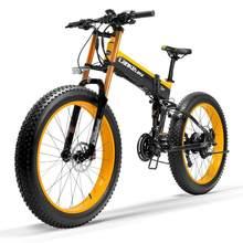 Bicicleta elétrica dobrável t750plus neve 1000w, bateria de íon de lítio de 48v, pedal de 5 níveis, sensor de ajuda para bicicleta