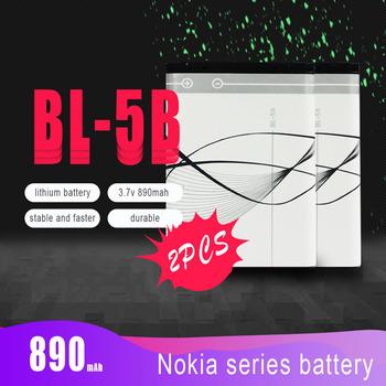 2 sztuk partia 890mAh BL-5B BL5B litowo-polimerowa bateria do telefonu Nokia N83 N80 6120 6230 5200 3220 3230 5140 7360 5200 5208 wymiana komórek tanie i dobre opinie DEAH Li-ion CN (pochodzenie) Tylko baterie 2PCS 46*34*5 3mm 3 7v About 19g FOR Nokia N80 N90 3220 3230 5200 5070 5140 51401