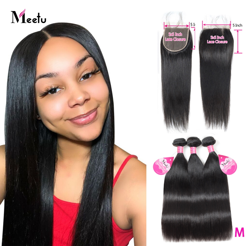 Malaysian Straight Hair Bundles With Free Part 3 Bundles With Closure Meetu Human Hair Bundles With Closure 5x5 Inch Non Remy