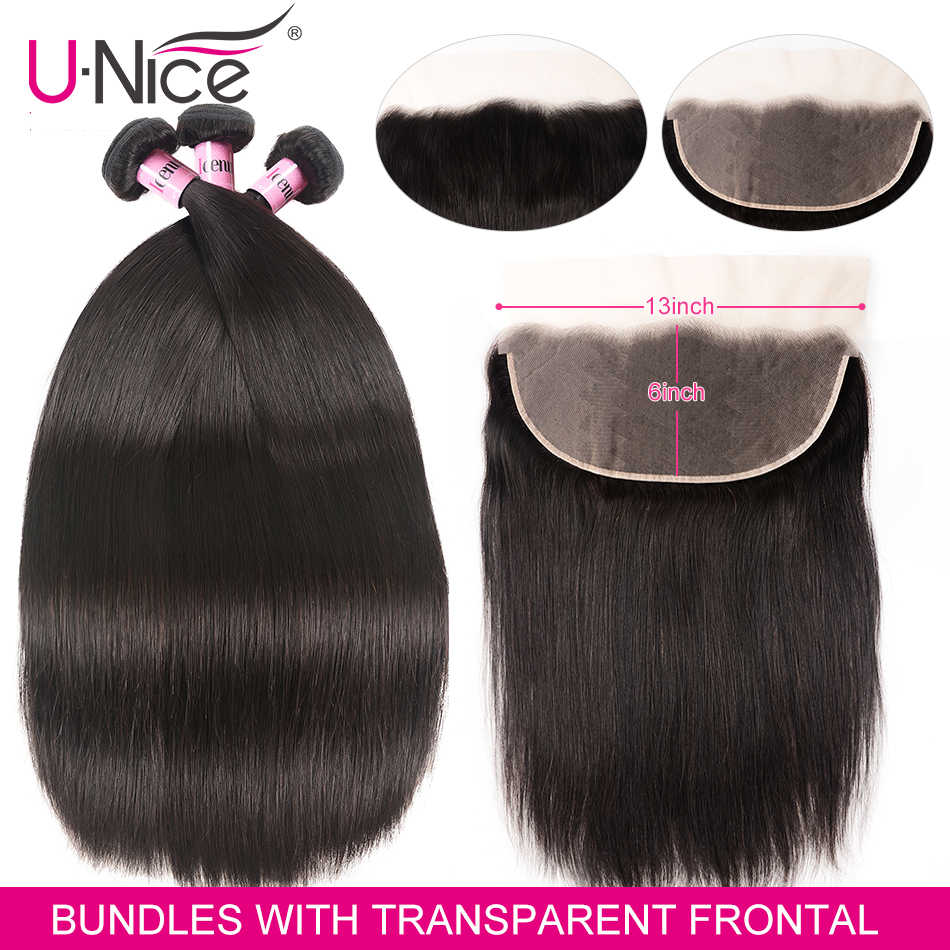 Unice Hair 13x6 Transparent Lace Frontal Closure With Bundles Brazilian Straight Hair Weave 3 pcs With Frontal Remy Hair