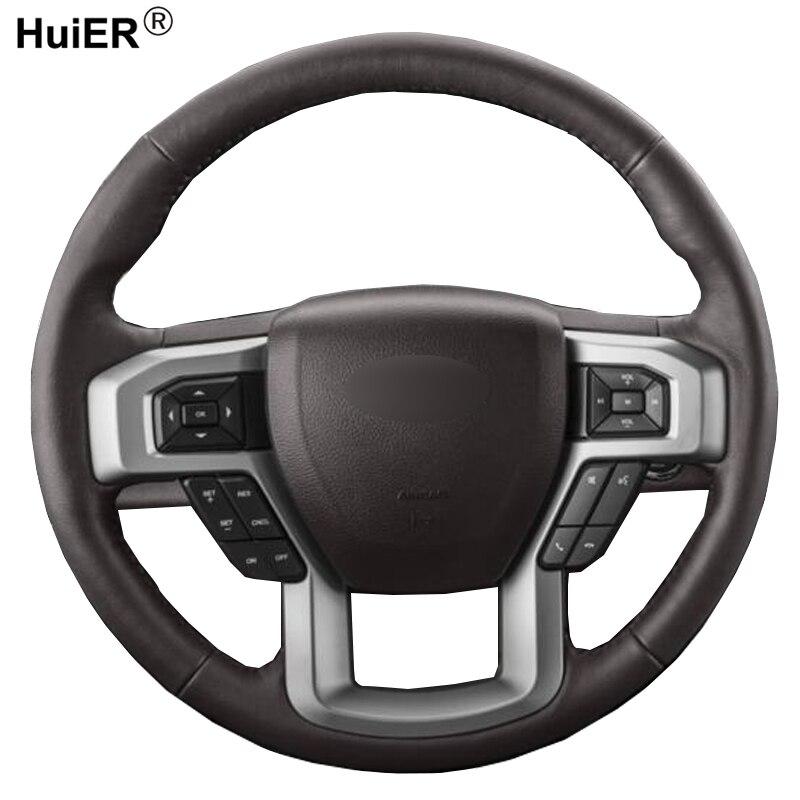 Housse de volant de voiture à coudre à la main Volan Funda Volante pour Ford F-150 F150 King Ranch Lariat Platinum XL XLT 2015 2016 2017