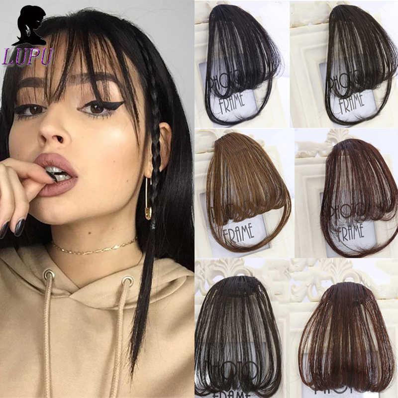 Lupu frente franja franja clipe na extensão do cabelo natural preto marrom sintético resistente ao calor hairpieces para mulher