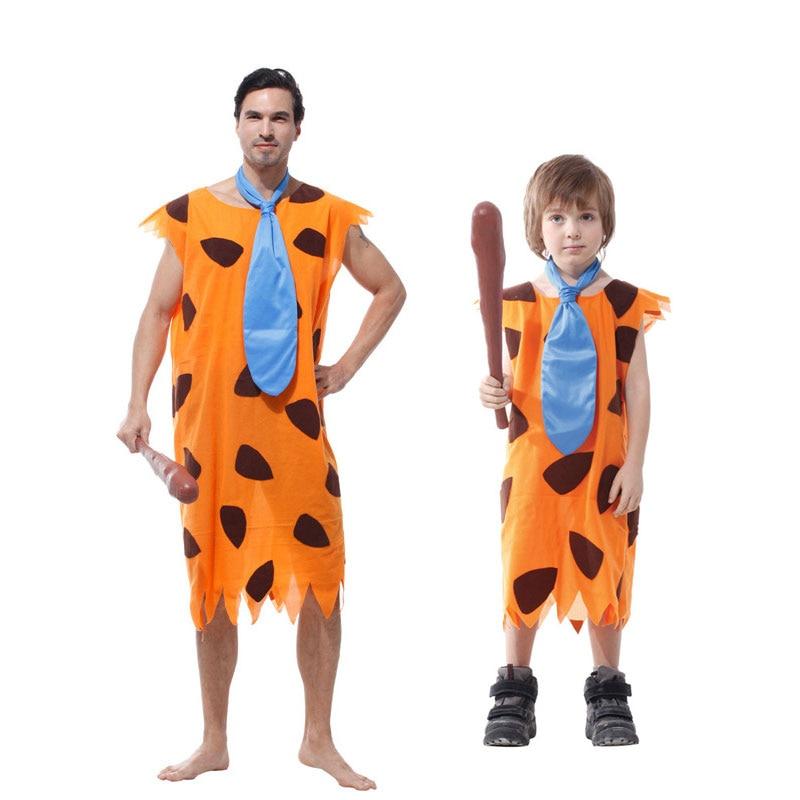 Umorden Purim Carnival Party Halloween Costumes Primitive Savages Flintstones Costume Men Stone Age Boy Cosplay For Adult Kids