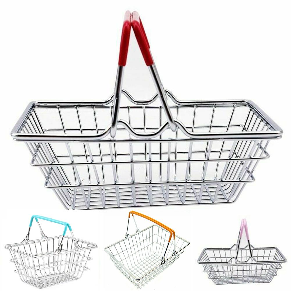 Kid Handcart Toy Miniature Metal Simulation Supermarket Shopping Basket Utility Carts Basket Pretend Role Play Toys For Children