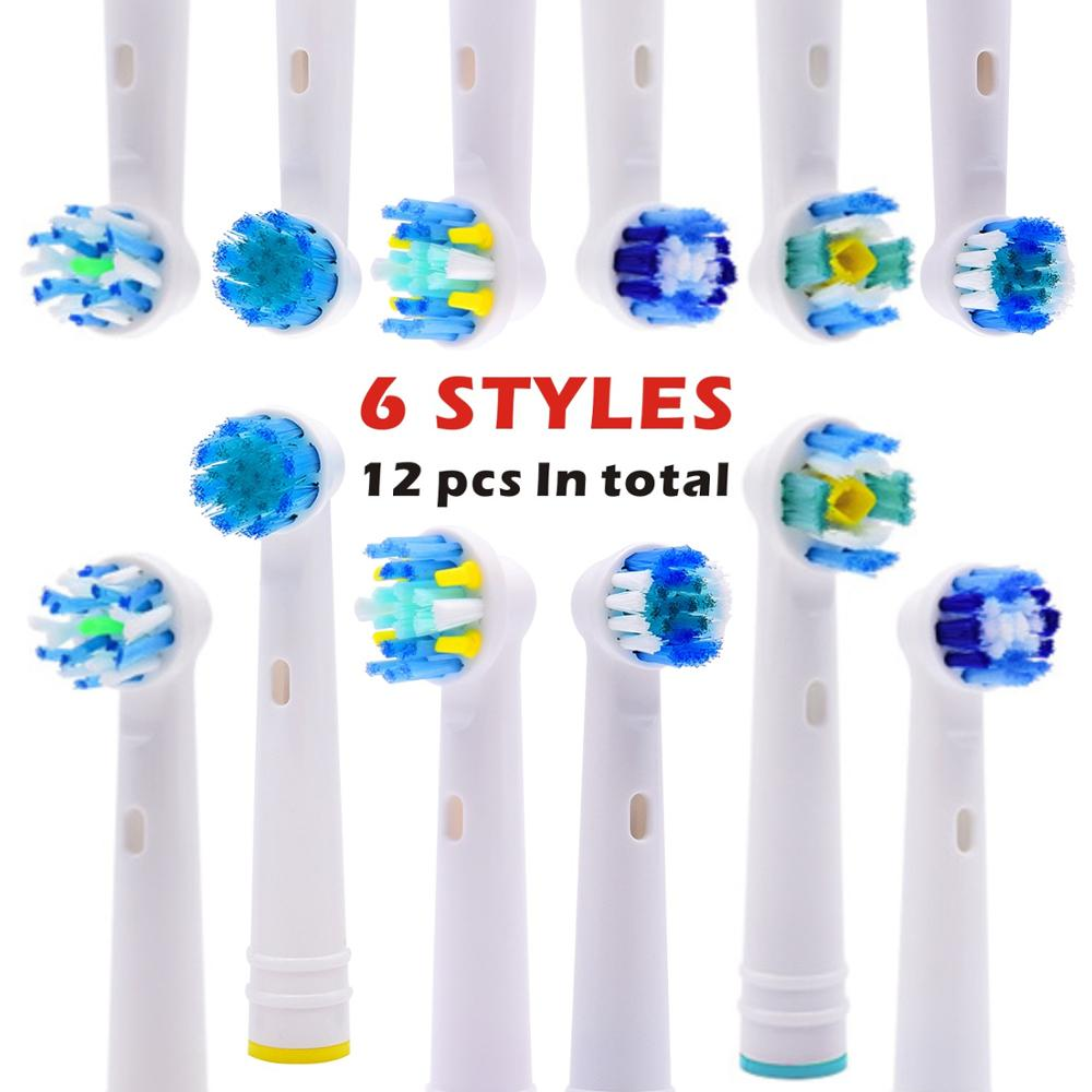 12pcs Replacement Toothbrush Heads 6model For Oral B Electric Advance Power/Pro Health/Triumph/3D Excel/Vitality Precision Clean