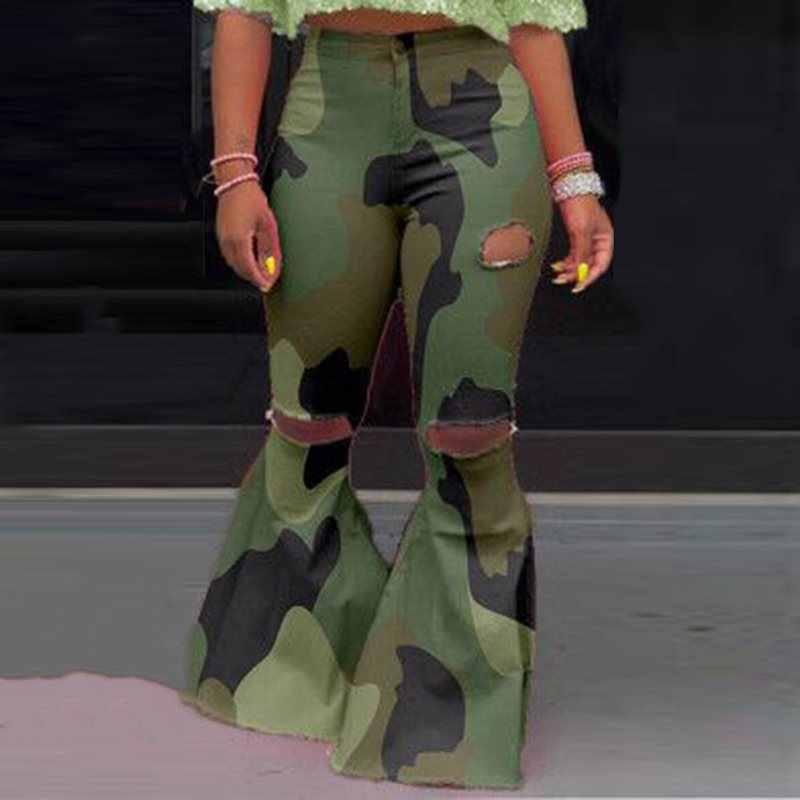 Casual Flare Kamuflaj Pantolon Kadın Baskı Yırtık Moda Sıcak Streetwear Pantolon Kadın Sonbahar 2019 Yeşil Seksi Çan Alt Pantolon