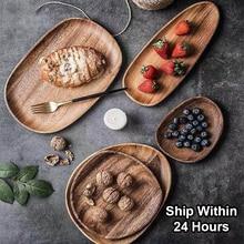 Plato de madera entera ovalado Irregular ovalado de madera maciza platos de frutas platillo bandeja de té postre artículos de mesa plato para cena Set