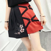 High Waist A Line Irregular Ins Skirt Women'S Skirts Ladies Kawaii Female Japanese Harajuku Bandage Sakura Cute Dress FF2235(China)