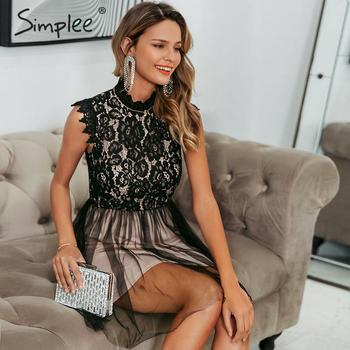 Simplee Women sleeveless lace dress Sexy embroidery floral black short party dress Ladies spring chic night club summer dress 6