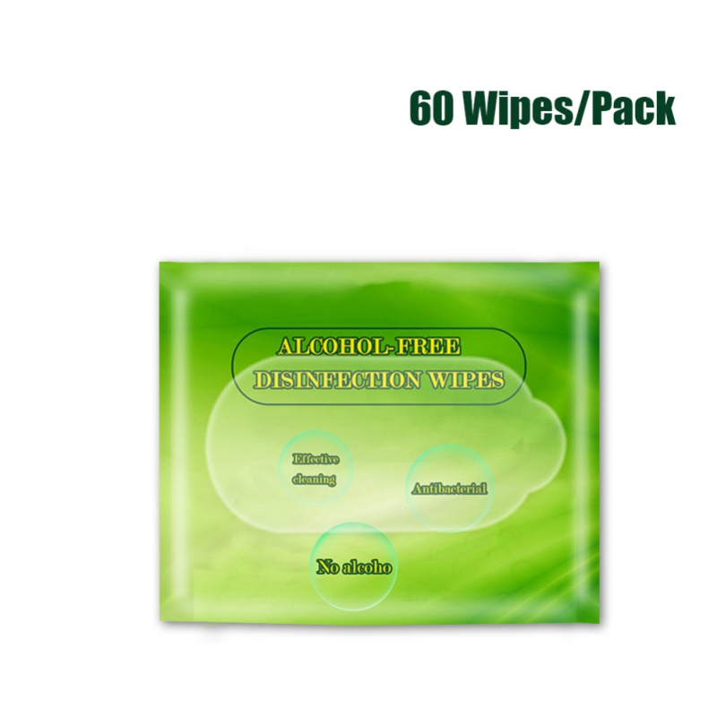 Recommend 60 Wipes/Pack Natural Alcohol-Free Cleaning Disinfecting Wipes Unscented Bacteriostatic Wipes Body Hand Care