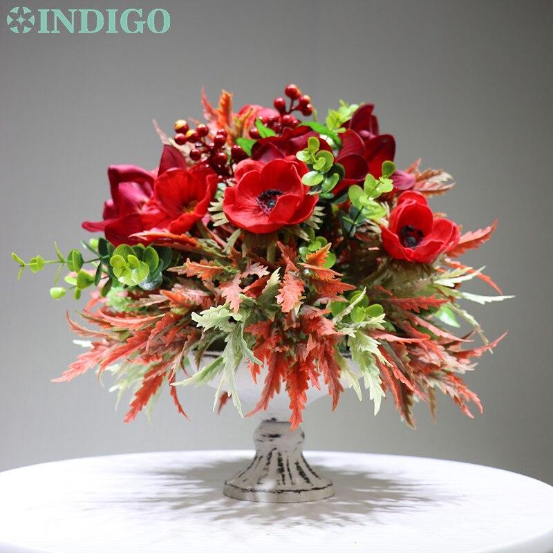 INDIGO conçu-1 ensemble rouge anémone noël fleur Arrangement bonsaï Bouquet Table pièce maîtresse cadeau livraison gratuite