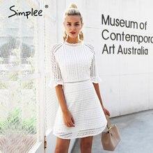Simplee Elegante scava fuori il vestito di pizzo delle donne di Mezza manica di stile di estate midi abito bianco 2018 Molla breve vestito casuale vestidos