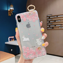 for iPhone X XS XR XS MAX Transparent Cover with Wrist Band for iPhone 6 6s 7 8 6 plus 8 plus Floral Case Cartoon Back Cover все цены