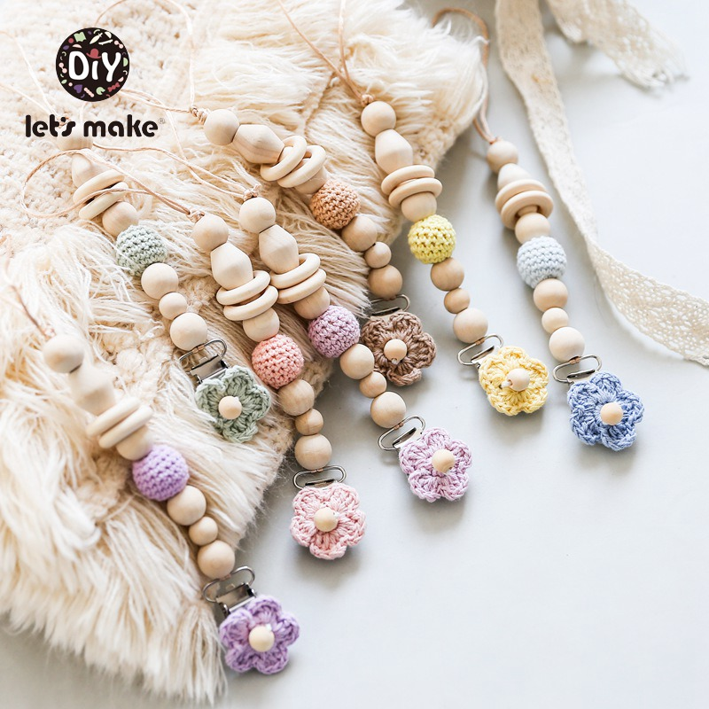 Let's Make 1PC Baby Pacifier Chain Clips Crochet Flower Infant Nipple Holder Soft Making Weaner Cord Wood Crochet Beads Cotton