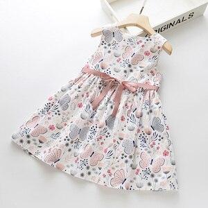LOVE DD&MM Girls Dresses 2020 New Children's Wear Girls Sweet Doll Collar Butterfly Flower Print Sleeveless Vest Dress(China)