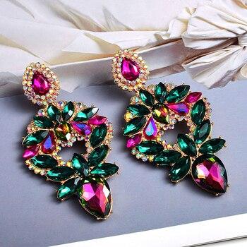 Long Metal Colorful Crystal Drop Earrings  3