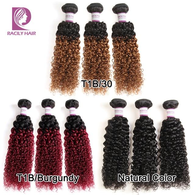 Racily Hair 1/3/4 Pcs Ombre Hair Bundles Brazilian Kinky Curly Hair Weave Bundles Deals Remy T1B/30 Ombre Human Hair Extensions 4