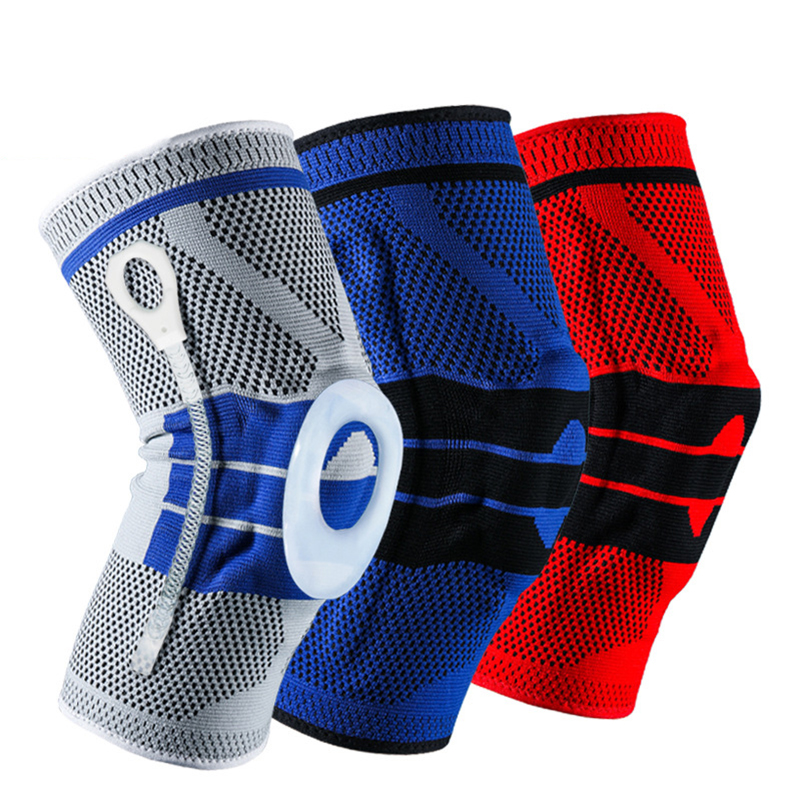 1PCS Patella Knee Protector Brace Silicone Spring Knee Pad Basketball Knitted Compression Elastic Knee Sleeve Support K003