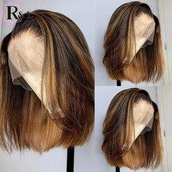 RULINDA Kurze Bob 13*6 Spitze Front Menschliches Haar Perücken Pre gezupft Highlight Ombre Farbe Brasilianische Nicht-Remy haar T-Teil Spitze Perücken