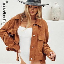 Cryptographic Jackets Corduroy Turn-Down Collar Long Sleeve Solid Women Coats Single Breasted Pocket Sashes Short Outwear Winter corduroy single breasted dual pocket skirt