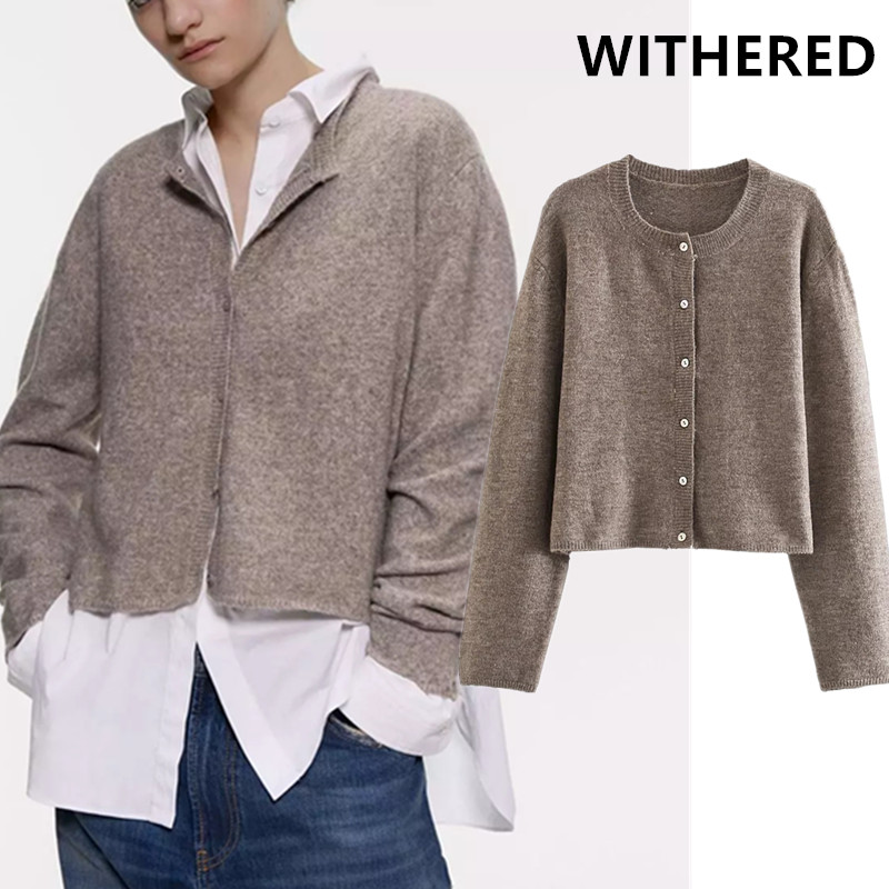 Withered England Style Winter Cardigans Sweaters Women Vintage Solid  Single Breasted Knitting Cardigans Weaters Women Tops