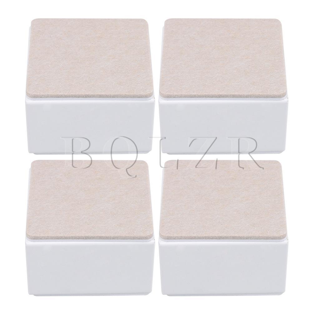 BQLZR 4pcs 80x80x53mm Carbon Steel Felt White Furniture  Feet Bed Lifter