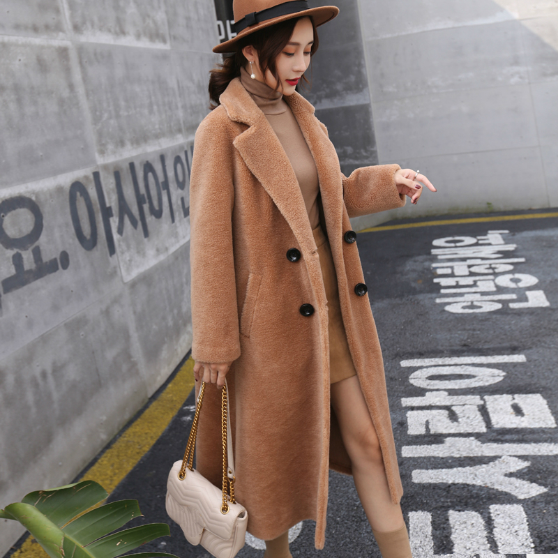 Parka Real Fur Sheep Shearing Coat Female Natural Wool Jackets Women Autumn Winter Double Breasted Warm Clothes LWL1364