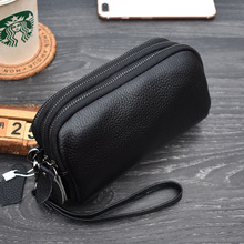 SMART  Long Women Wallet Genuine Leather 3 layers Zipper Wristlet Bag Big Capacity Lady Clutch Coin Purse Mobile phone bag black