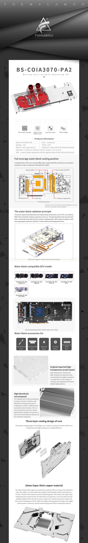 Barrow 3070 GPU Water Block for Colorful RTX 3070 Advanced OC, Full Cover ARGB GPU Cooler, BS-COIA3070-PA2