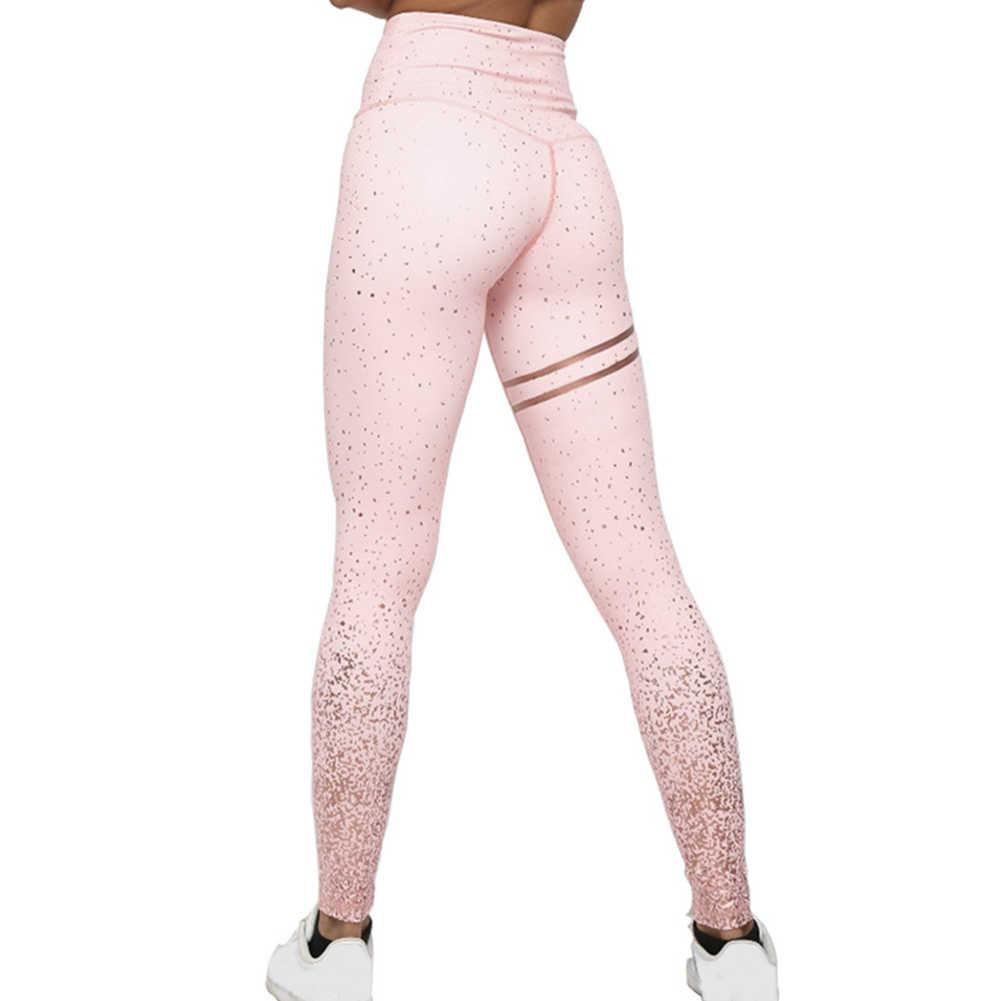 ออกกำลังกายผู้หญิงกางเกงโยคะการบีบอัดพิมพ์ GYM Leggings ฟิตเนสกีฬา Tummy ควบคุม Slim Elastic High เอว