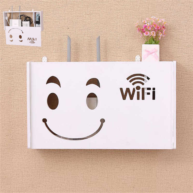 Wireless Wifi Router Box Wood-Plastic Wall Shelf Hanging Plug Board Bracket Storage Box 3 Size 9 Style Organizer