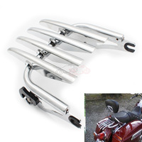 Motorcycle Strip Shape Stealth Chrome Metal Steel Luggage Rack Holdfast Sissy Bar Uprights For Harley HD Touring FLHT FLHX FLTR