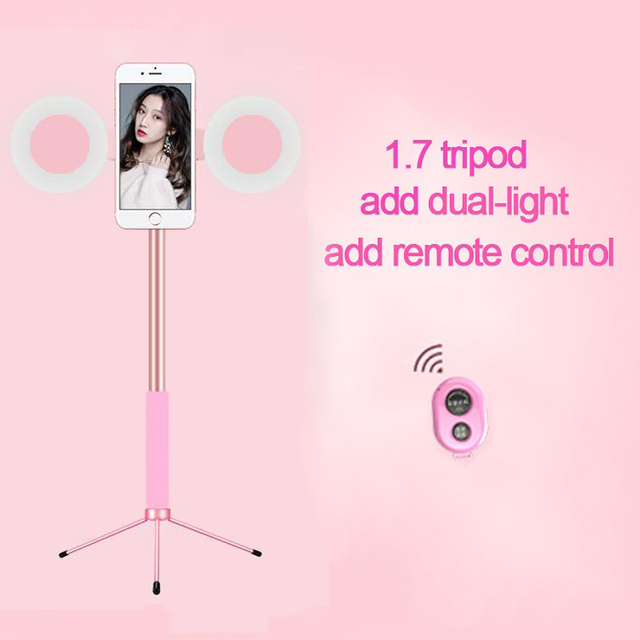 1.7m Extendable live Tripod Selfie Stick Support LED Ring Dual light mirror Stand 4 in 1 Phone Mount for iPhone X 8 11 Android