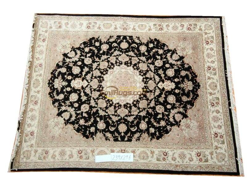 Tapis fait main décor à la maison tapis carré Antique Vintage laine de mouton naturelle