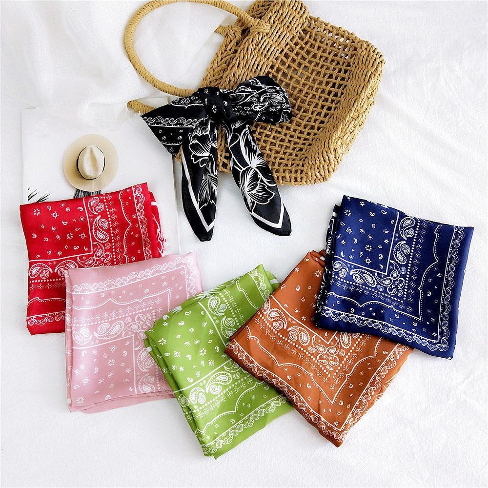 AOMU 2020 Vintage 100% Cotton Hip-hop Summer Bandanas For Male Female Head Scarf Scarves Wristband Vintage Pocket Towel 70*70cm