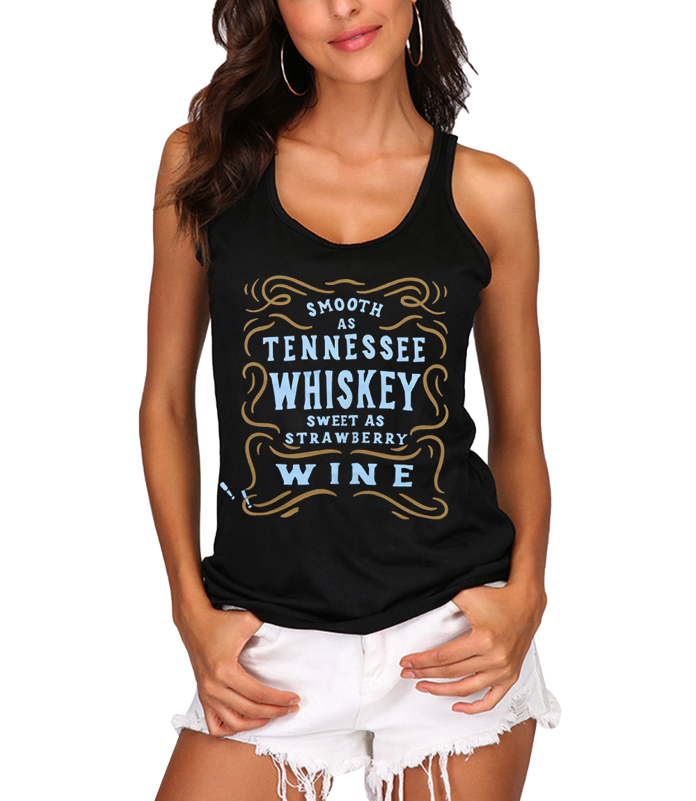Smooth As Tennessee Whiskey Tank Top New T Shirt Women O-neck Casual Tops Summer Female Casual Tops For Women Clothing image