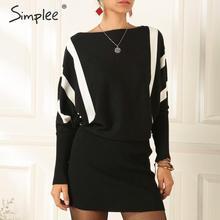 Simplee Streetwear stripped knitted dress Elegant sheath bat