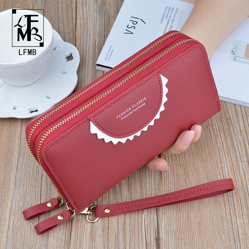 Phone Purses Women [[LFMB]Wallets Big Female Purse Leather Brand Ladies Long Woman Wallets Card Clutch Double Zipper